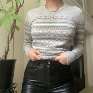 TOPSHOP Gray Fair Isle Knit Fitted Sweater
